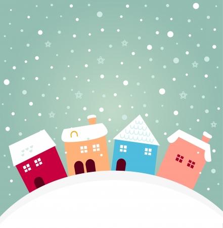 enero: Navidad lindo colorido pueblo. dibujos animados Vectores