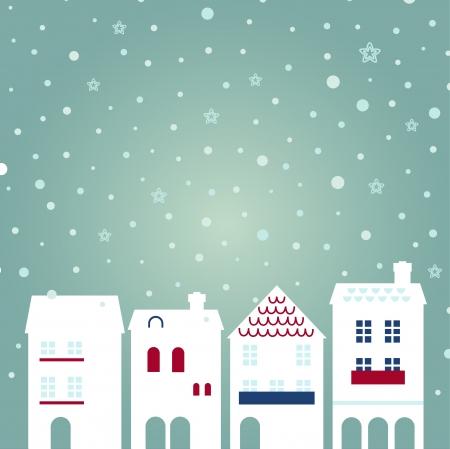 White christmas buildings. Vector