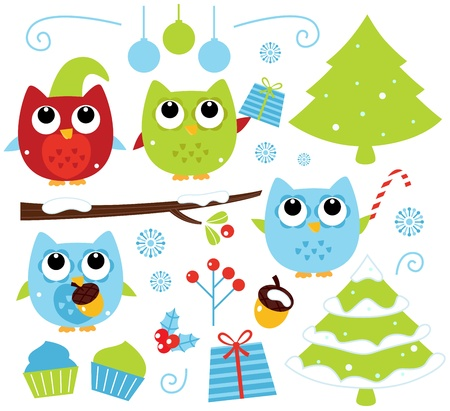 Cute Christmas design elements. Vector