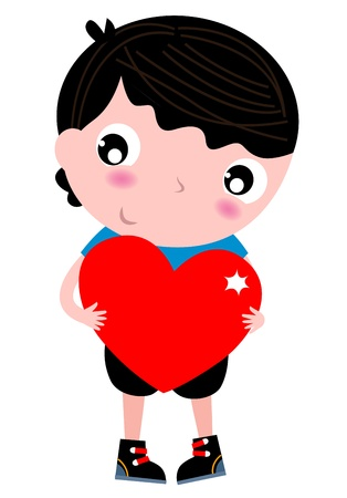 Boy holding Heart for Valentines Day. Vector Illustration Vector