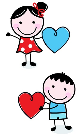 Illustration of happy Kids with Hearts. Vector Vector