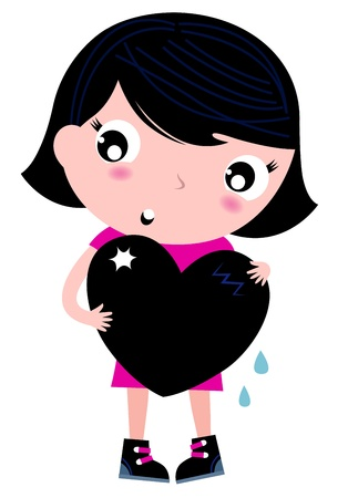 Little emo girl hugging black heart. Vector Illustration Vector