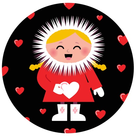 romance image: Little Eskimo kid for Valentines Day. Vector Illustration Illustration
