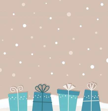 Retro xmas background with gifts. Vector