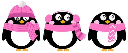 three colors: Funny penguins. Vector cartoon illustration