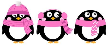 Funny penguins. Vector cartoon illustration