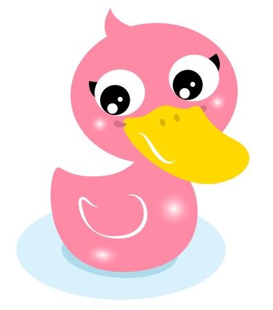 pato de hule: Pato de dibujos animados aislado en blanco. Vector Illustration Vectores