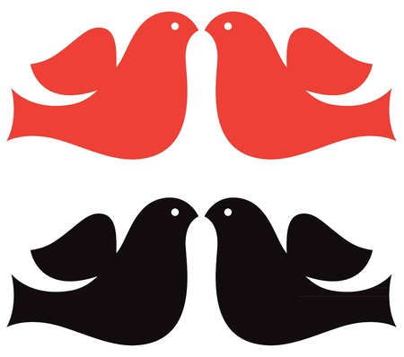 Simple Dove collection - red and black. Vector Illustration Stock Vector - 17697321