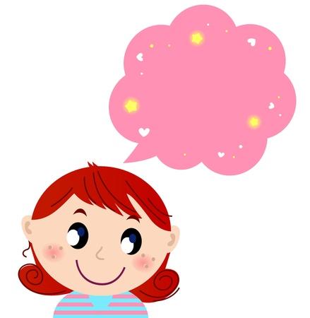 think up: Happy child with dream. Vector cartoon Illustration Illustration