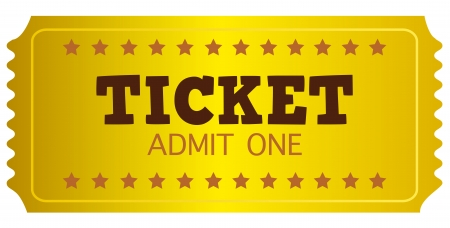 Gold Ticket or Coupon isolated on white. Vector Illustration Vector