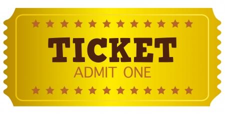 lottery: Gouden ticket of coupon geïsoleerd op wit. Vector Illustratie