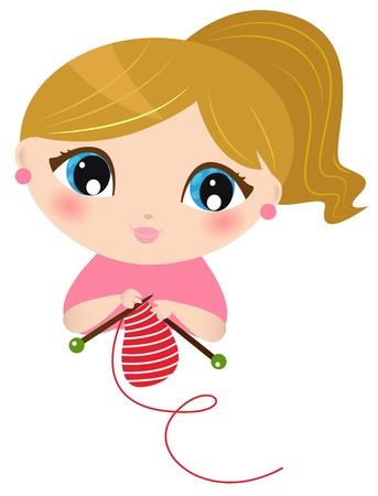 crafting: Chica joven linda tejer bufanda. Vector Illustration Vectores
