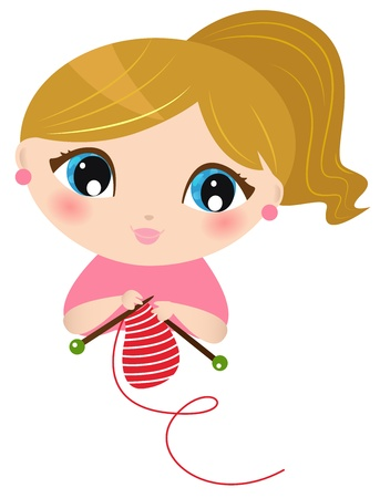 knit: Cute young Girl knitting scarf. Vector Illustration