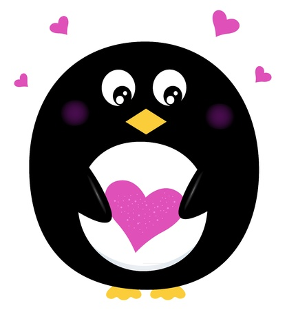 dear: Penguin with love heart. Vector cartoon Illustration