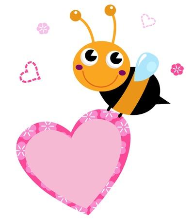 Happy cute Ladybug with pink heart. Vector Illustration Stock Illustratie