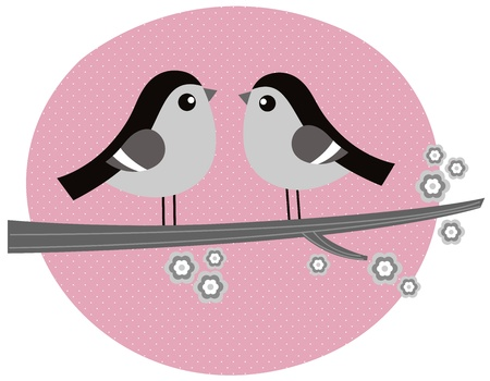 Cute monochrome love Birds. Vector retro Illustration