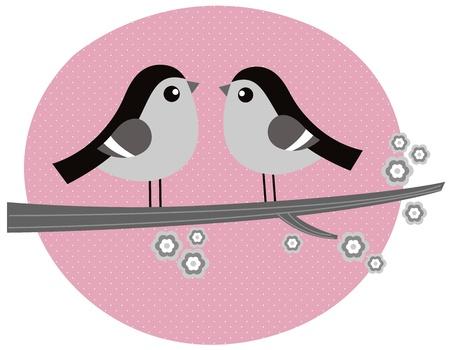 Cute monochrome love Birds. Vector retro Illustration