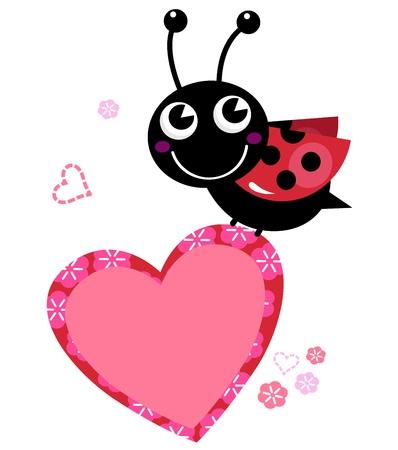 mariquitas: Ladybug lindo feliz con el corazón de San Valentín. Vector Illustration