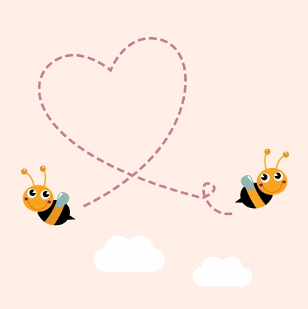 Bees making love heart. Vector cartoon Illustration