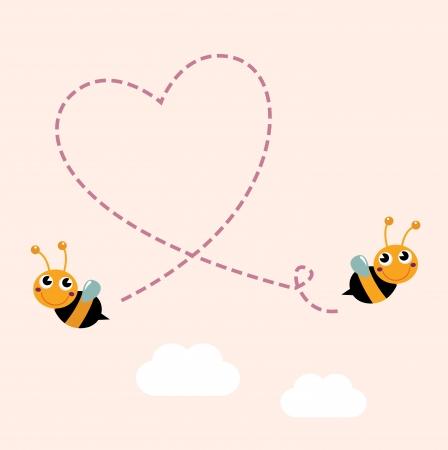 Bees making love heart. Vector cartoon Illustration