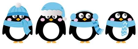 pinguino caricatura: Ping�ino de la historieta navidad fijado. Vector Illustration