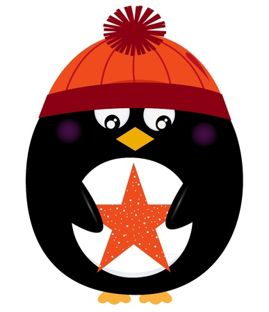 Cute penguin with star. Vector Illustration Vector