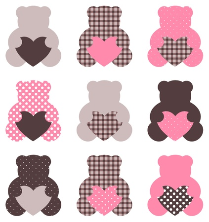 Beautiful retro Teddy bear collection isolated on white. Vector Ilustração