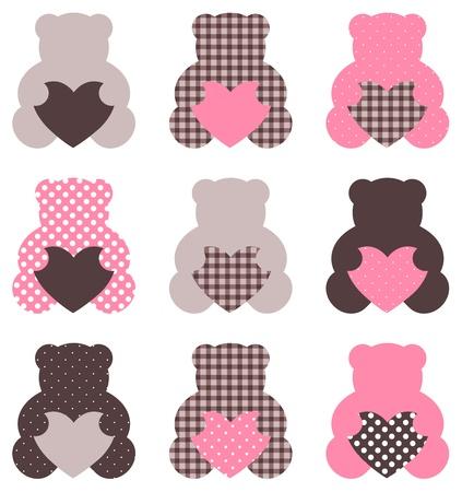 oso de peluche: Hermosa colección retro Teddy bear aislado en blanco. Vector Vectores