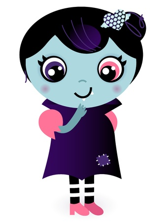 creepy monster: Bella Valentine Vampire Girl. Vector Illustration caroon Vettoriali