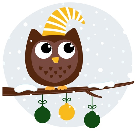 Christmas stylized cartoon Owl. Vector Illustration Stock Vector - 17932175