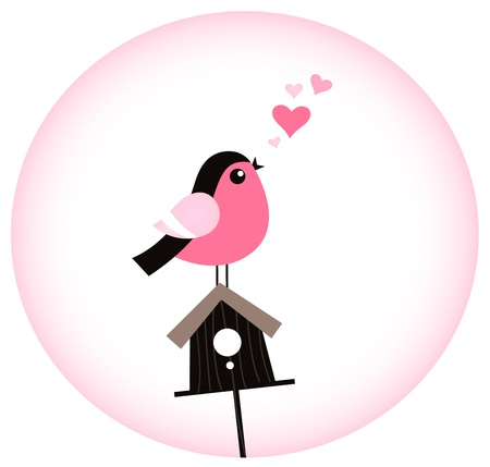 Sweet pink bird singing love song isolated in pink circle. Vector