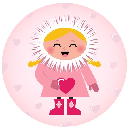 Little Eskimo kid for Valentines Day. Vector Illustration Vector