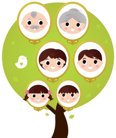 kin: Three generation family tree. Vector illustration Illustration