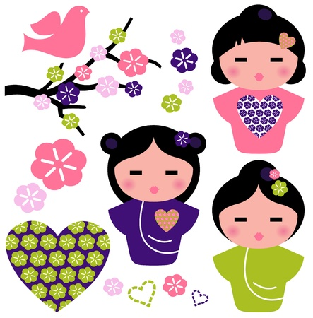 Little love Geishas, love design elements. Vector Illustration