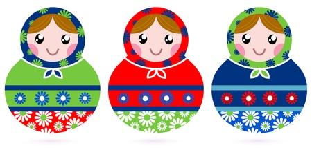 russian culture: Traditional Russian dolls set - Matrioshka. Vector