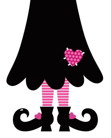 legs stockings: Valentine Witch gambe - nero e rosa. Illustrazione vettoriale Vettoriali