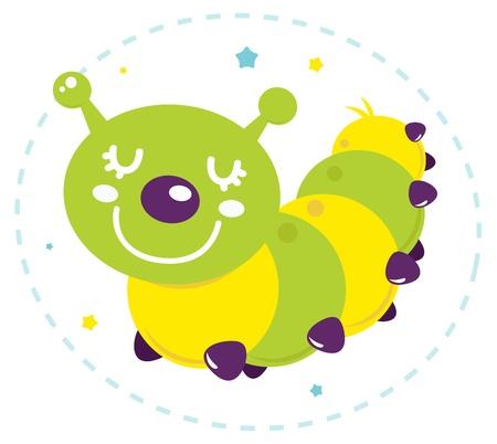 larvae: Funky colorful caterpillar illustration. Vector
