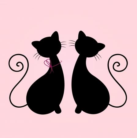 Cat Mann und Frau in Liebe. Vector Illustration