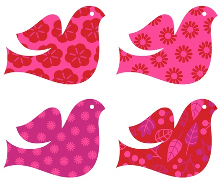 Stylized patterned Doves for Valentines day - pink and red. Vector Vector