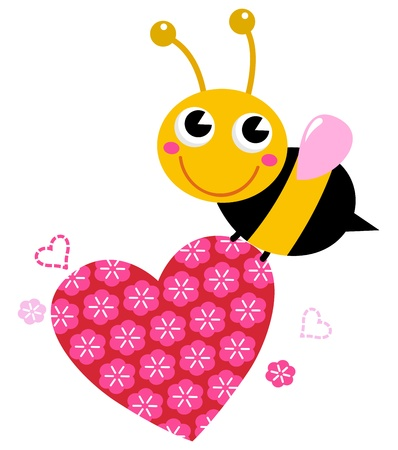 Bee with pink floral heart. Vector cartoon Illustration Vector
