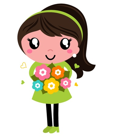 Young Woman in green dress with Bouquet. Vector Illustration Vector