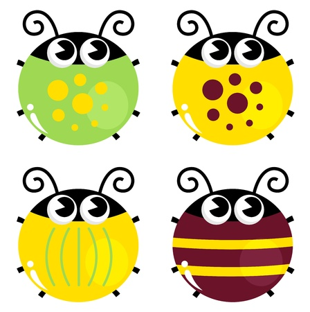 Cute little funny bugs set - yellow, green and brown. Vector Vector