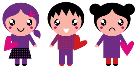 Little cute Emo kids for Valentines day in vibrant colors. Vector Illustration Vector
