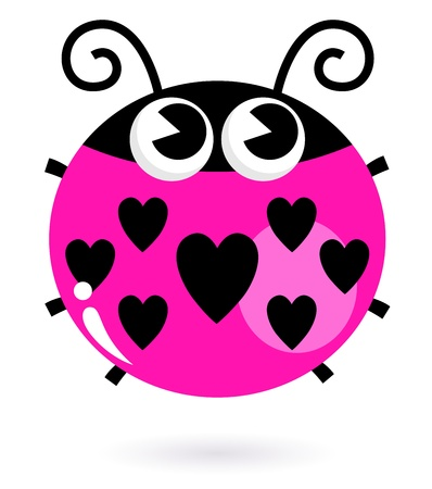 passion ecology: Cute valentines Ladybug. Vector Illustration