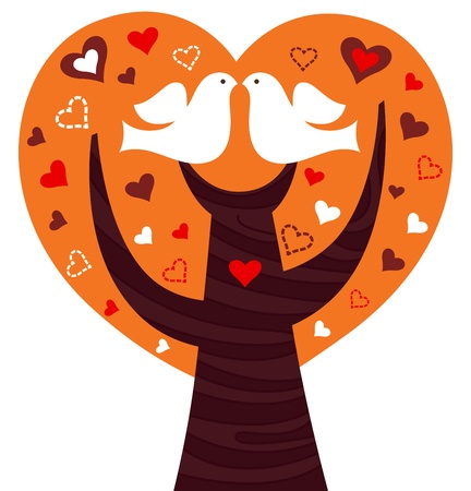 Tree of love for Valentines Day. Vector Illustration Ilustração