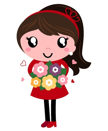 Mom in red dress with flowers in vintage style. Vector Illustration Vector
