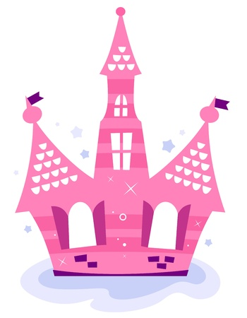 Beautiful fairy tale princess Castle on the sky. Vector Vector