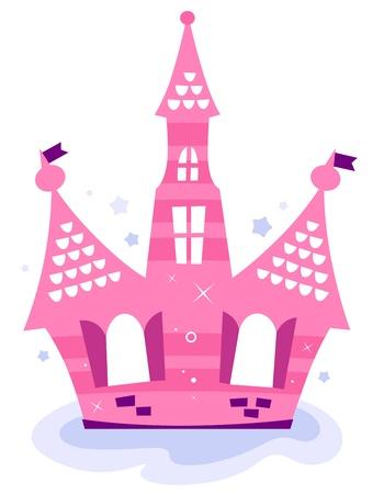 Beau conte de fées princesse Château dans le ciel. Vecteur