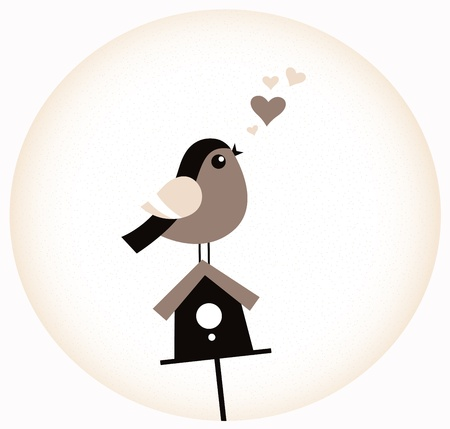 Adorable love Bird, Birdhouse and hearts. Vector Illustration Stock Vector - 18419239