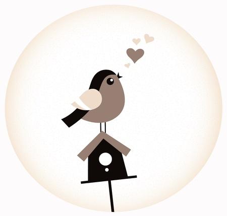 Bird amor adorable, Birdhouse y corazones. Vector Illustration Vectores